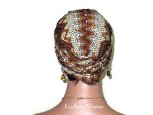 Handmade Brown Twist Turban, Aztec, Cream - Couture Service  - 3