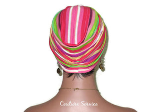 Handmade Striped Rayon Magenta Twist Turban, Pink - Couture Service  - 3