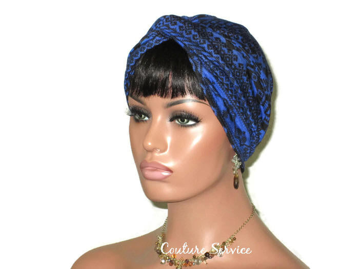 Handmade Blue Royal, Rayon Twist Turban, Black, Tribal Stripe - Couture Service  - 1