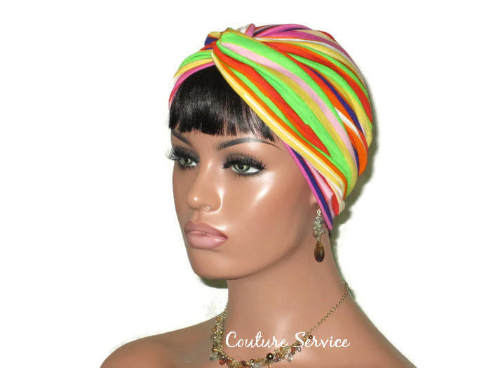 Handmade Striped Rayon Purple Twist Turban, Orange - Couture Service  - 1