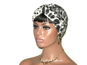 Handmade Grey Twist Turban, Animal Print, Smoked Grey - Couture Service  - 4