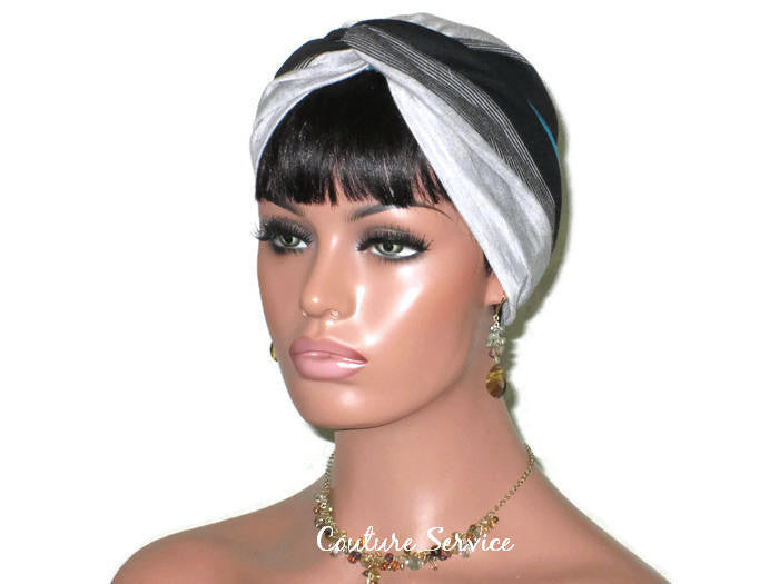 Handmade Striped Rayon Green Twist Turban, Grey Heather and Black - Couture Service  - 1