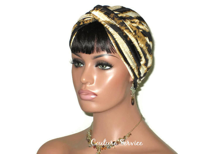 Handmade Gold Twist Turban, Black, Zebra Animal Print - Couture Service  - 1