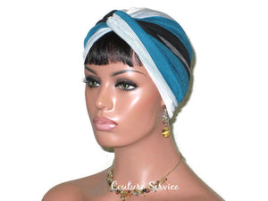 Handmade Striped Rayon Green Twist Turban, White and Black - Couture Service  - 1