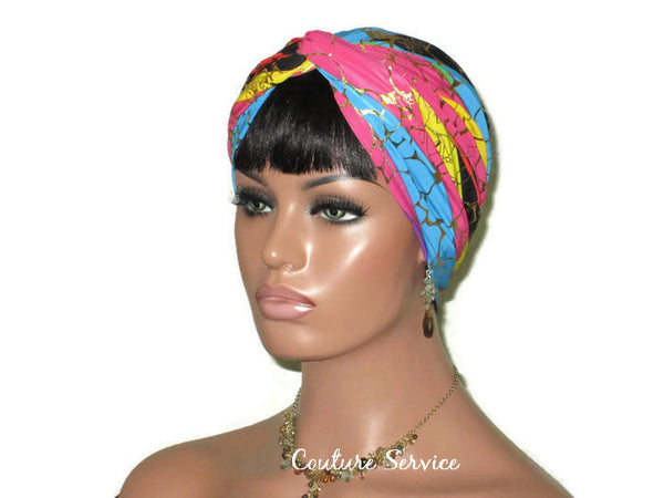 Handmade Metallic Gold Twist Turban, Rainbow Stripe - Couture Service  - 4