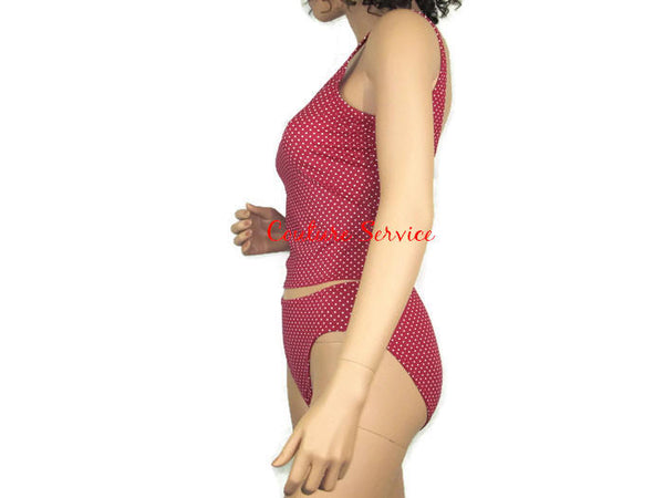 Handmade Candy Red & White Micro Dot Tankini Swimwear