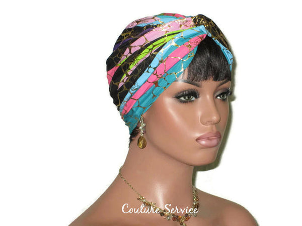 Handmade Metallic Gold Twist Turban, Pink Stripe - Couture Service  - 4