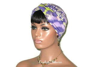Handmade Lavender Twist Turban, Animal Print, Lime - Couture Service  - 4
