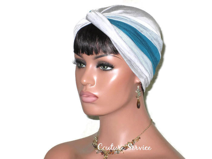 Handmade Striped Rayon Green Twist Turban, Grey Heather - Couture Service  - 1