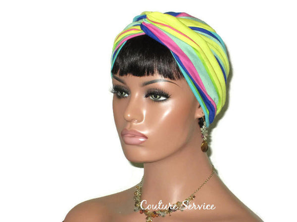 Handmade Striped Rayon Aqua Twist Turban, Yellow, - Couture Service  - 4