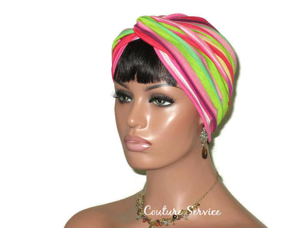 Handmade Striped Rayon Magenta Twist Turban, Pink - Couture Service  - 4