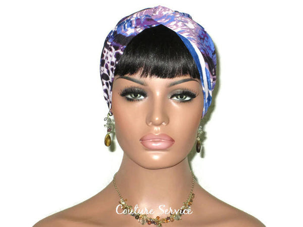 Handmade Blue Twist Turban, Animal Print, Purple - Couture Service  - 2