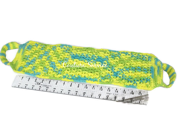 Handmade Crocheted Back Scrubber, Yellow, Lime, and Green Variegate