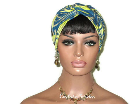 Handmade Teal Rayon Twist Turban, Abstract, Lime - Couture Service  - 1