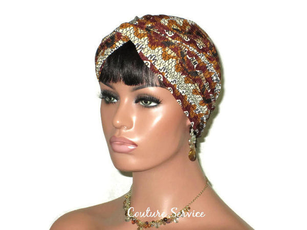 Handmade Brown Twist Turban, Aztec, Cream - Couture Service  - 4