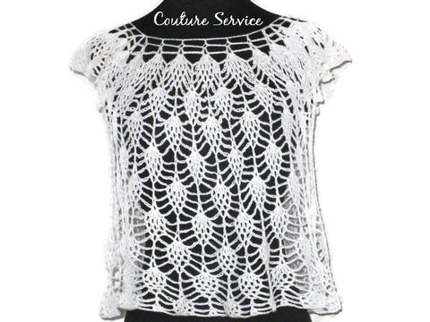 Handmade Crocheted Lace Top Overlay, White, Pineapple Lace