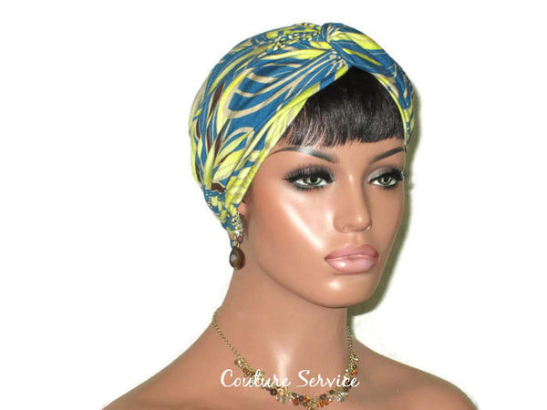 Handmade Teal Rayon Twist Turban, Abstract, Lime - Couture Service  - 2