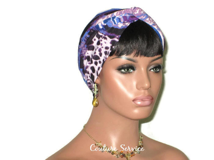 Handmade Blue Twist Turban, Animal Print, Purple - Couture Service  - 1