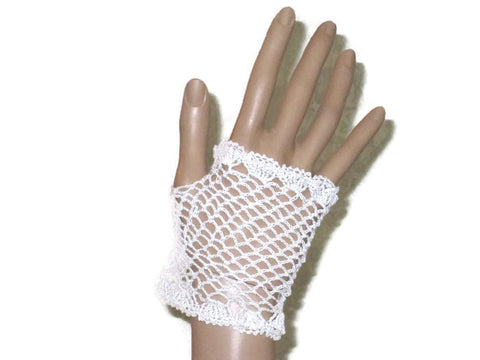 Handmade Crocheted Fingerless Lace Gloves, White