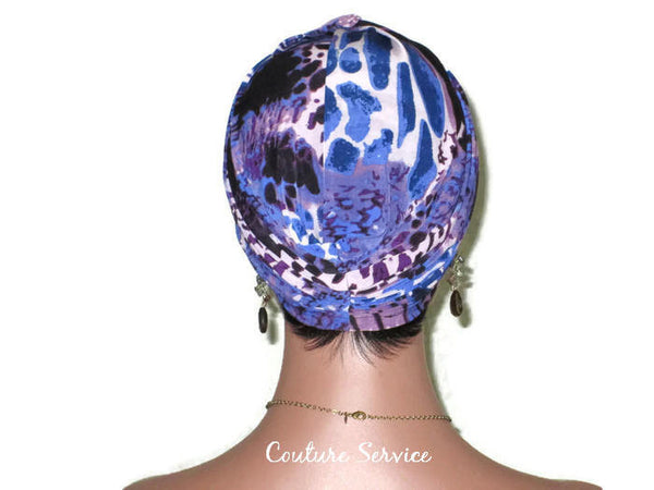Handmade Blue Twist Turban, Animal Print, Purple - Couture Service  - 4