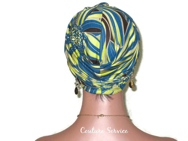 Handmade Teal Rayon Twist Turban, Abstract, Lime - Couture Service  - 3