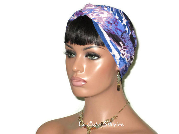 Handmade Blue Twist Turban, Animal Print, Purple - Couture Service  - 3