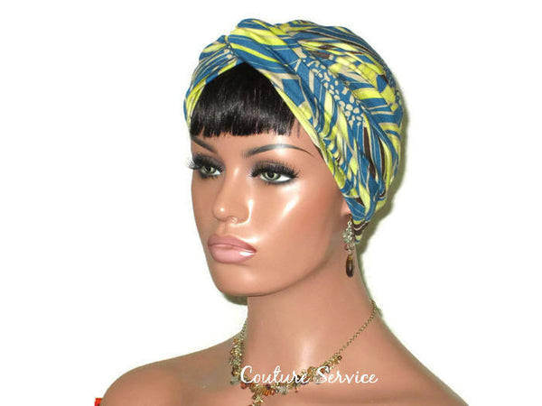 Handmade Teal Rayon Twist Turban, Abstract, Lime - Couture Service  - 4