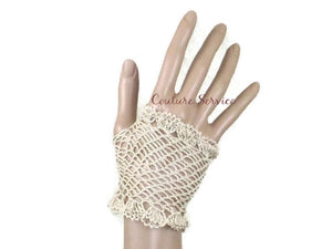 Handmade Crocheted Fingerless Lace Gloves, Natural