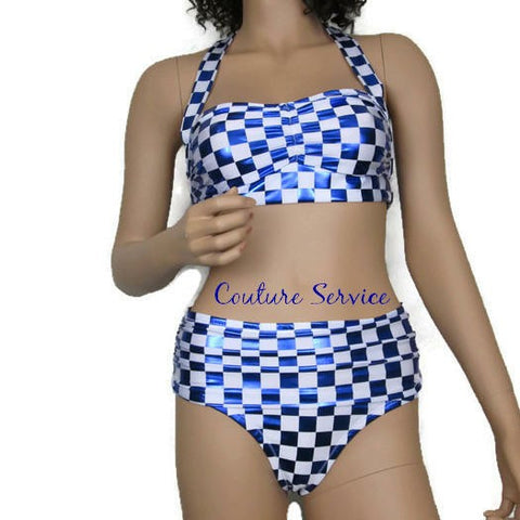 Handmade Blue Metallic & White Checkered Bikini Swimwear