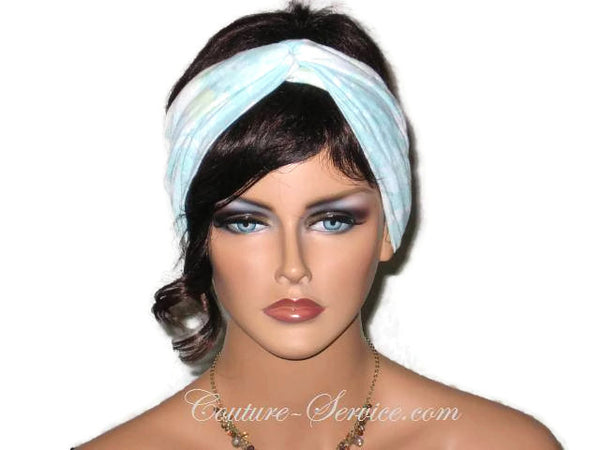 Handmade Blue Bandeau Headband Turban, Light Blue, Rayon Burnout - Couture Service  - 1