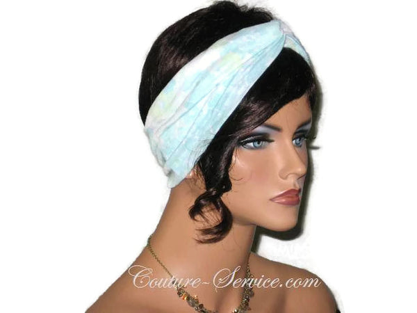 Handmade Blue Bandeau Headband Turban, Light Blue, Rayon Burnout - Couture Service  - 2