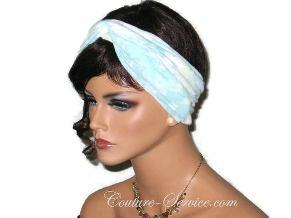 Handmade Blue Bandeau Headband Turban, Light Blue, Rayon Burnout - Couture Service  - 4