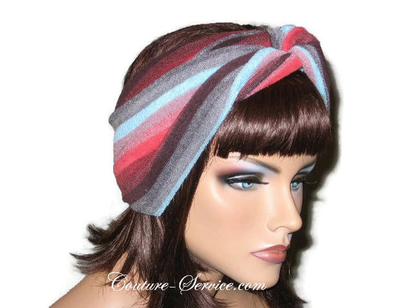 Handmade Red Stripe Bandeau Headband Turban, Terrycloth - Couture Service  - 4