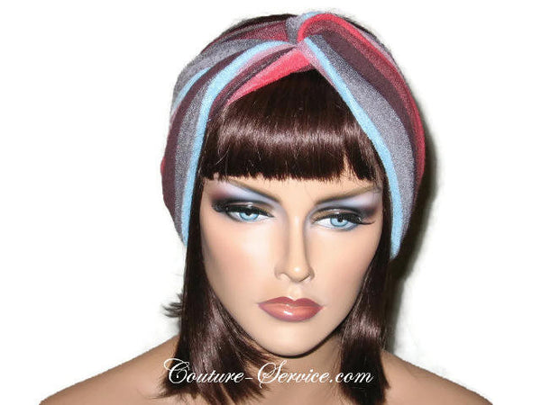 Handmade Red Stripe Bandeau Headband Turban, Terrycloth - Couture Service  - 1