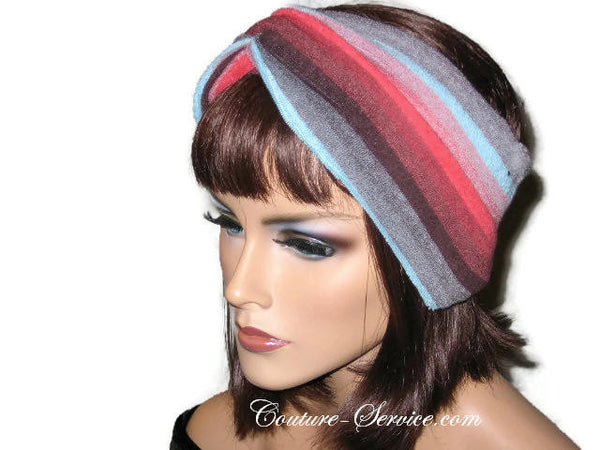 Handmade Red Stripe Bandeau Headband Turban, Terrycloth - Couture Service  - 2