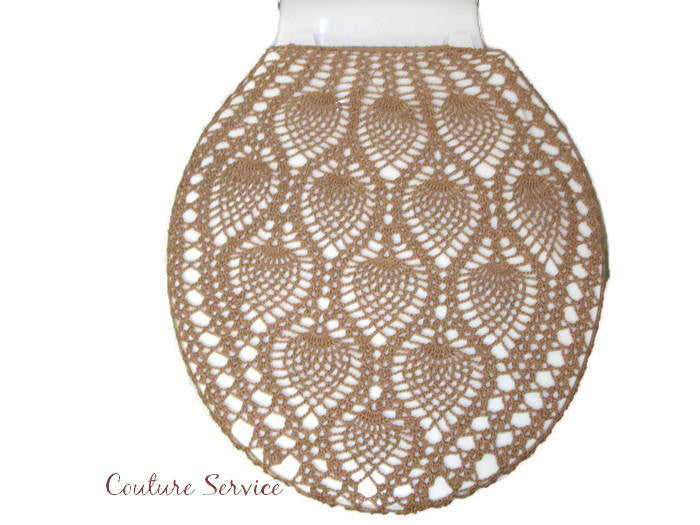 Handmade Crocheted Toilet Tank & Lid Cover, Medium Brown
