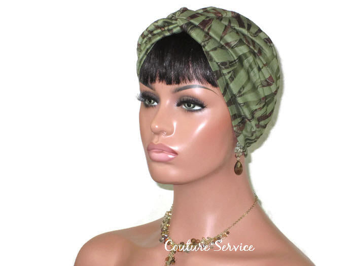 Handmade Green & Brown Rayon Twist Turban