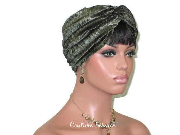 Handmade Green & Gold Shimmer Twist Turban