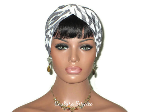 Handmade Grey Twist Turban, Cream, Zebra Animal Print - Couture Service  - 1