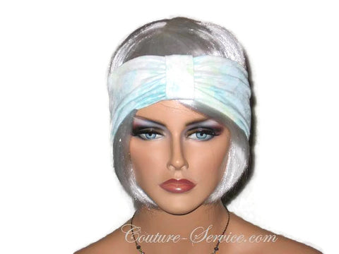 Handmade Blue Knot Headband Turban, Rayon Burnout - Couture Service  - 1