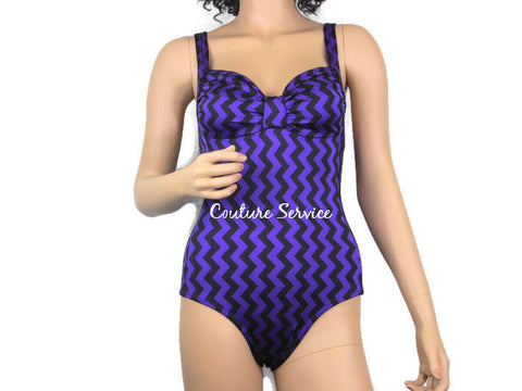 Handmade Purple & Black Zig Zag, One Piece Swimwear