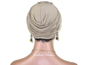 Handmade Brown Twist Turban, Taupe Rayon