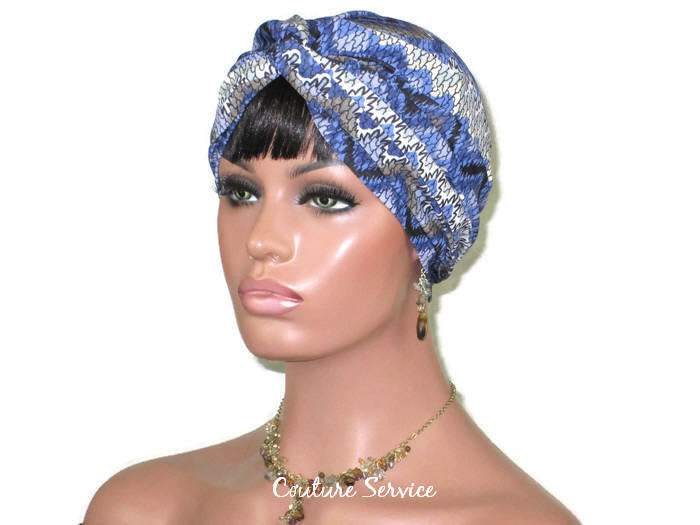 Handmade Blue Twist Turban, Aztec, Cream