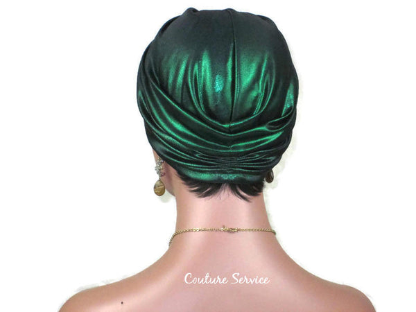Handmade Kelly Green Twist Turban, Metallic