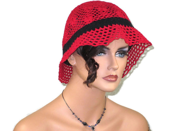 Handmade Crocheted Lace Brimmed Hat, Red & Black