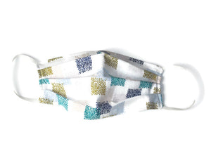 Handmade 100% Cotton Face Mask, Very Lightweight White Multicolored Print