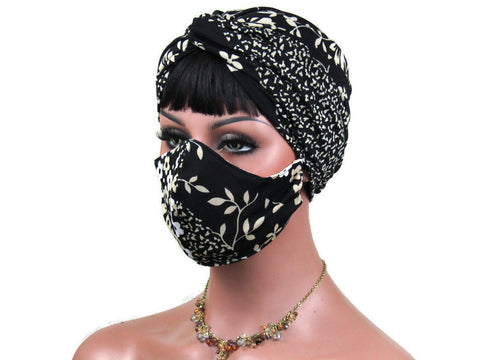 Handmade Black & Tan Twist Turban, and Full Face Mask Set