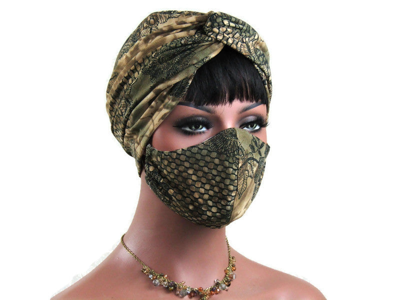 Handmade Antique Gold & Black Abstract Twist Turban, and Full Mask Set