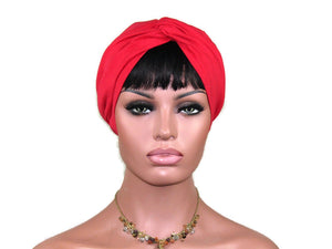 Handmade Red Cotton Lycra Twist Turban with Optional Face Mask