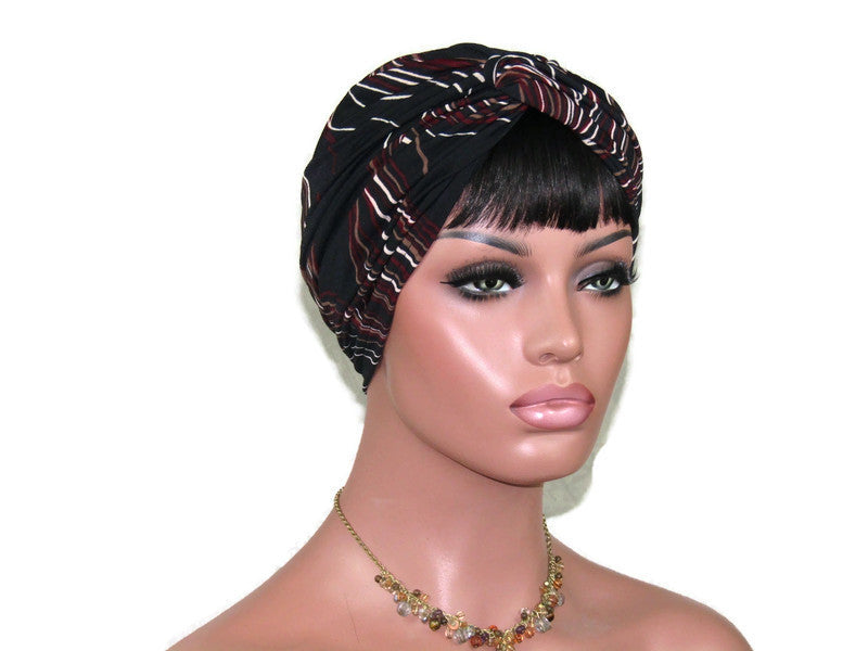 Handmade Black Multicolored Twist Turban, Crepe Swirl